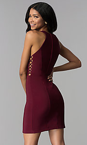 Image of wine red short party dress with racer front and back. Style: EM-EOS-1027-562 Back Image