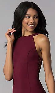 Image of wine red short party dress with racer front and back. Style: EM-EOS-1027-562 Detail Image 1