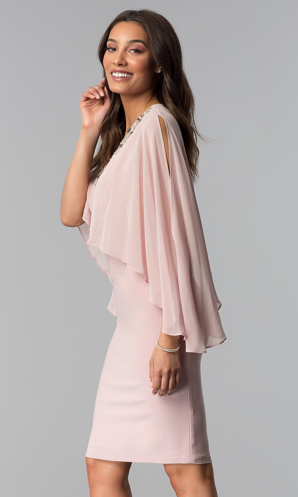 Rose Pink Knee-Length MOB Party Dress - PromGirl 69e084df3