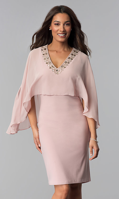 Image of knee-length MOB dress in faded rose pink. Style  IT- 85f08e0c9