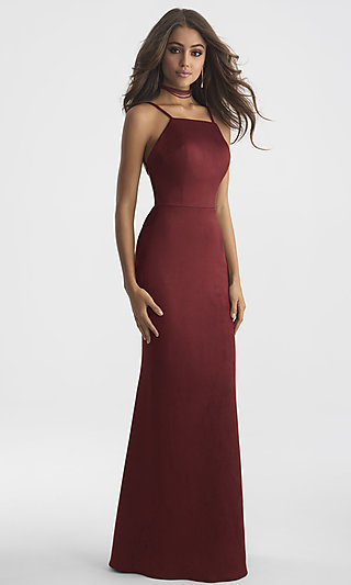 High-Neck Open Back Long Madison James Prom Dress