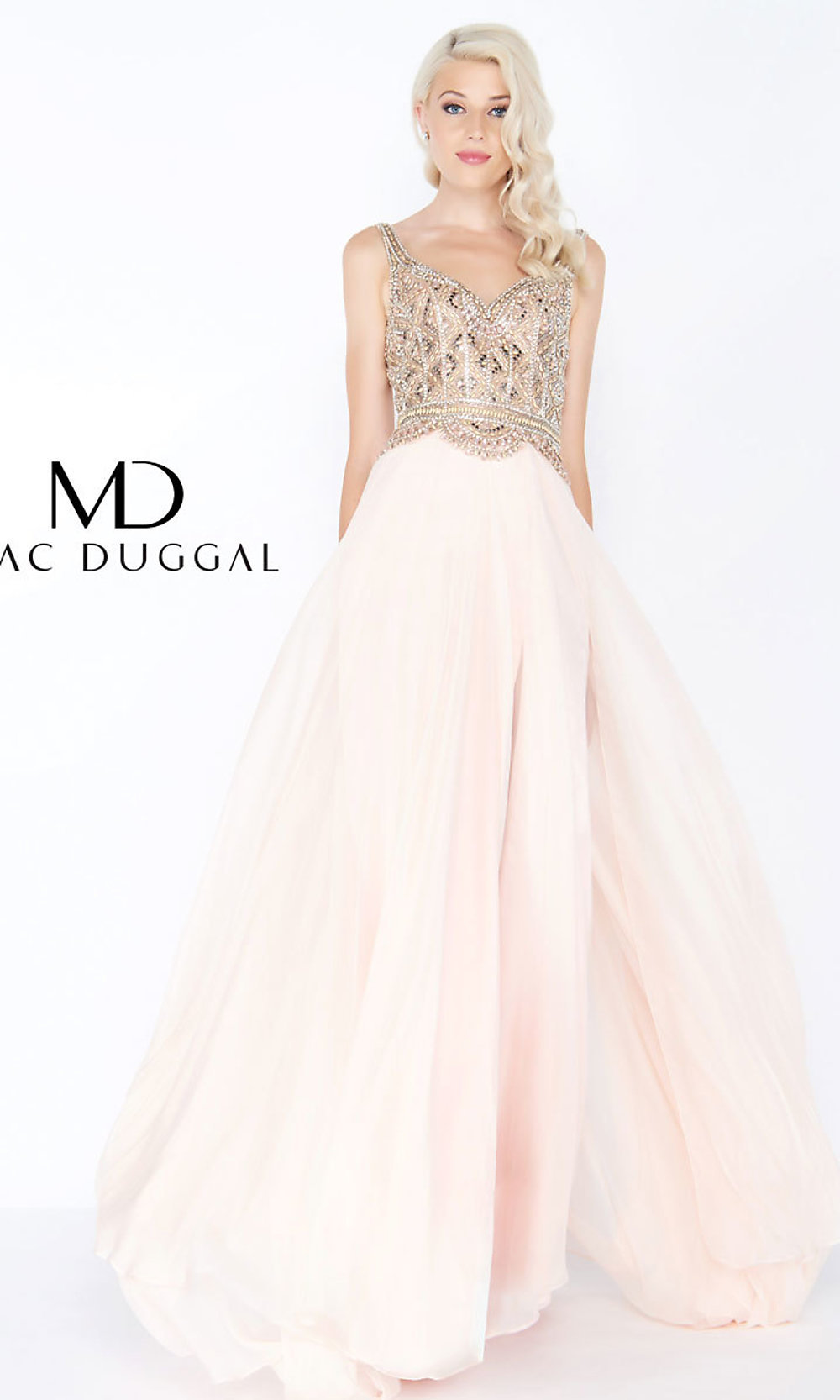 abd50d17dc0 Long Sleeveless Chiffon Prom Dress by Mac Duggal