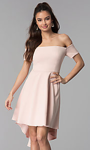 Image of high-low off-the-shoulder party dress in blush pink. Style: DMO-J320957 Front Image