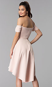 Image of high-low off-the-shoulder party dress in blush pink. Style: DMO-J320957 Back Image