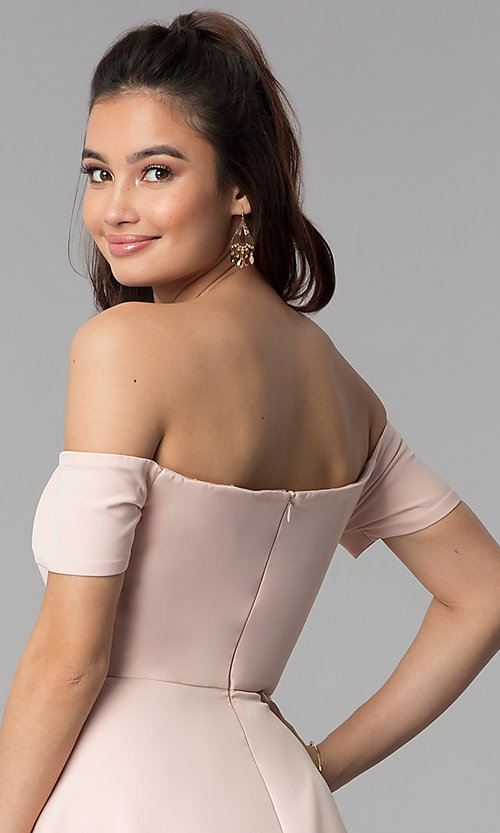 Image of high-low off-the-shoulder party dress in blush pink. Style: DMO-J320957 Detail Image 2