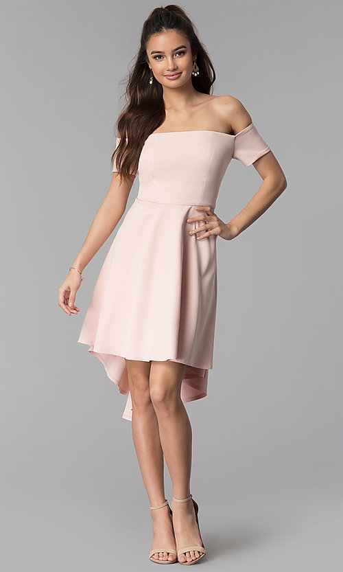 Image of high-low off-the-shoulder party dress in blush pink. Style: DMO-J320957 Detail Image 3