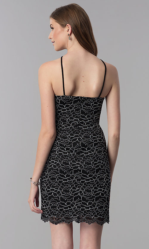Image of lace black short high-neck wedding guest party dress. Style: DMO-J321717 Back Image