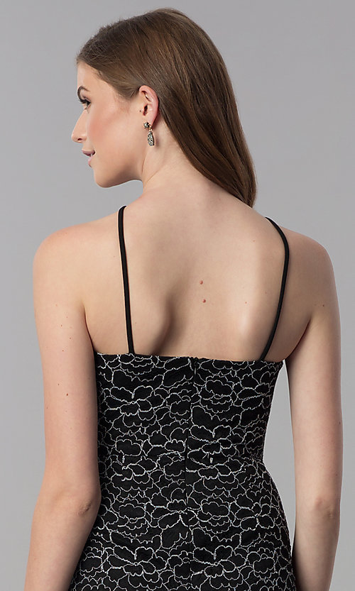 Image of lace black short high-neck wedding guest party dress. Style: DMO-J321717 Detail Image 2