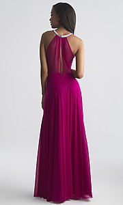 Image of long high-neck formal prom dress by Madison James. Style: NM-18-724 Back Image