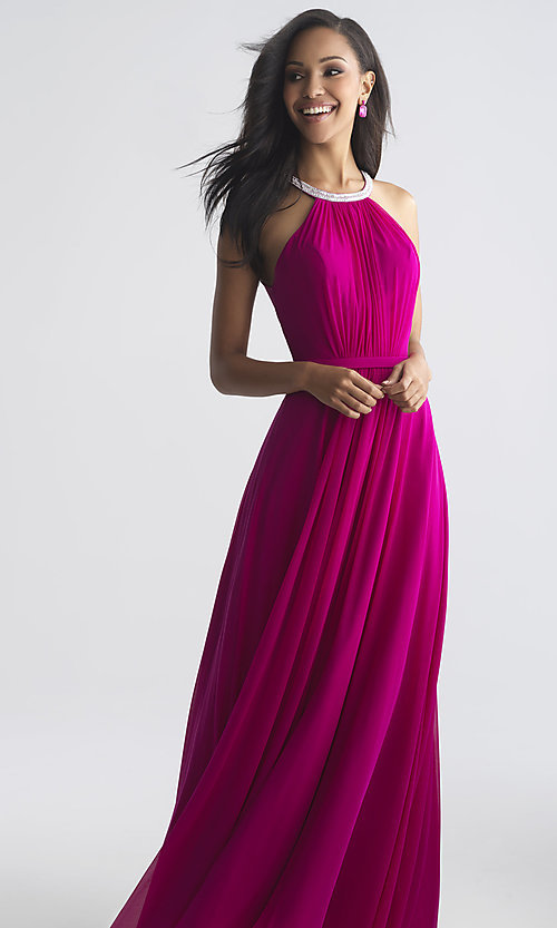 Image of long high-neck formal prom dress by Madison James. Style: NM-18-724 Front Image