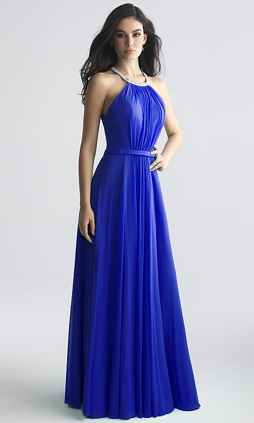 Image of long high-neck formal prom dress by Madison James. Style: NM-18-724 Detail Image 1