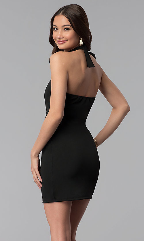 Image of high-keyhole halter-style short party dress. Style: CH-3051 Back Image