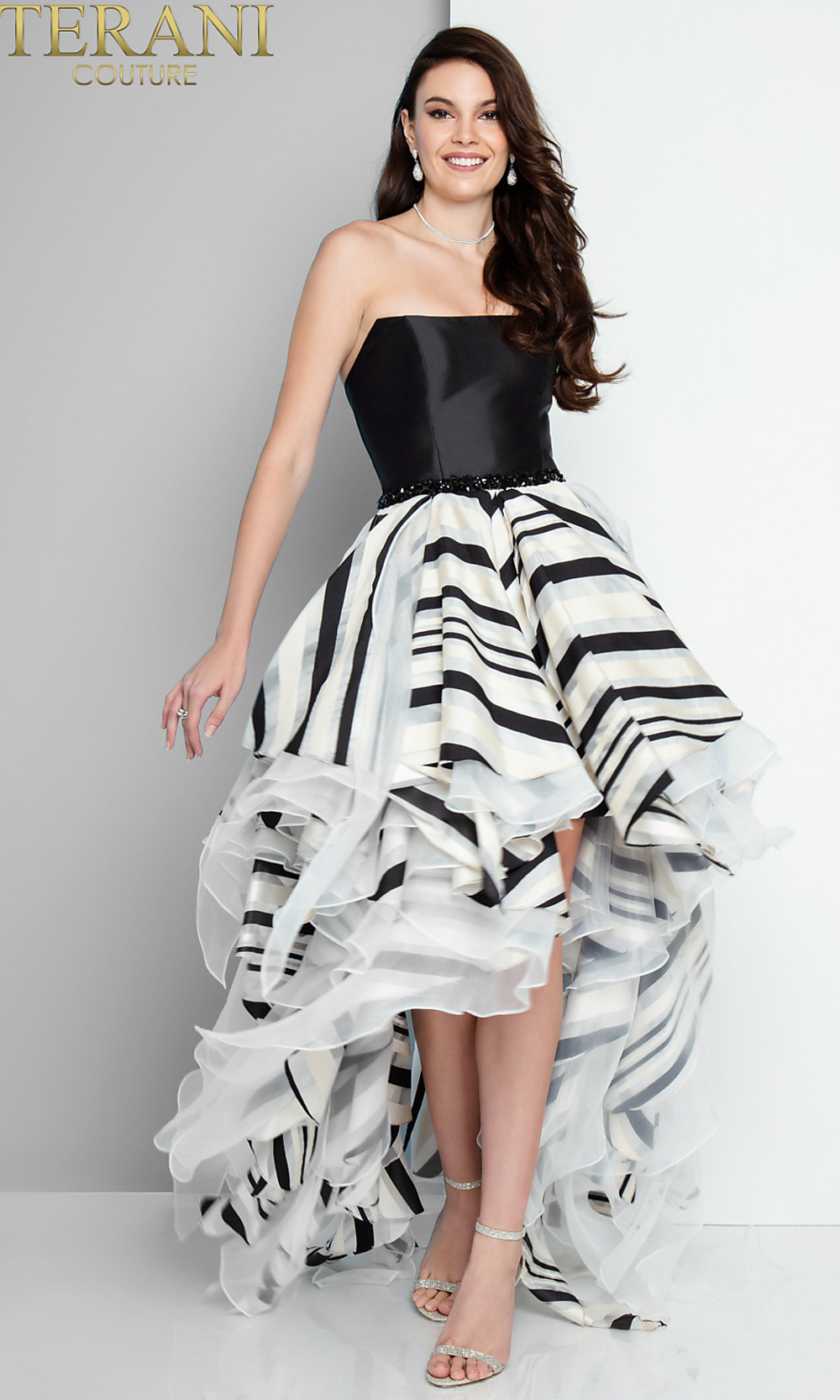 black and white striped highlow prom dress