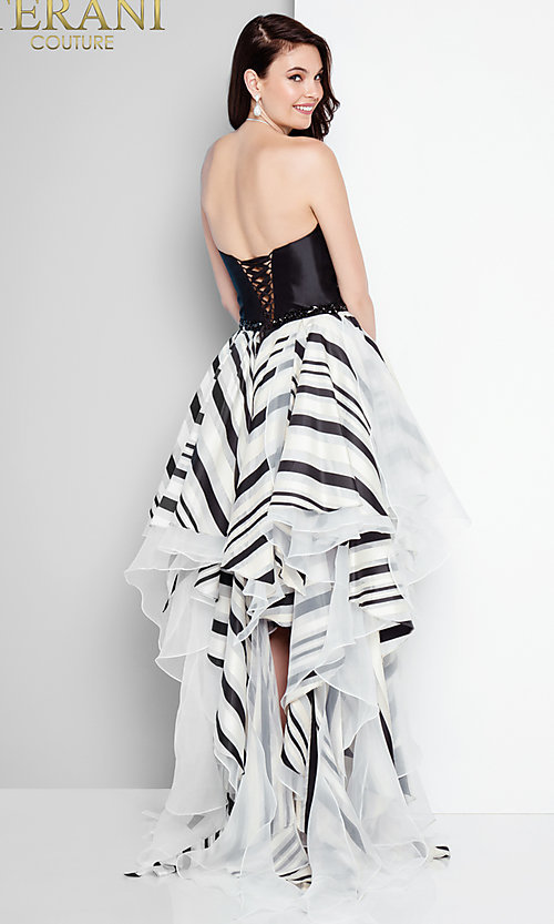Black And White Striped High Low Prom Dress