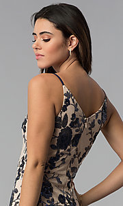 Image of short tan floral-sequin v-neck party dress. Style: MD-D15714CNI Detail Image 2