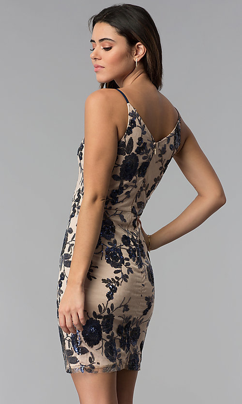 Image of short tan floral-sequin v-neck party dress. Style: MD-D15714CNI Back Image