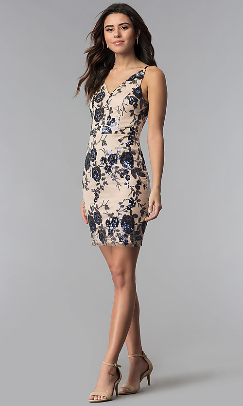 Image of short tan floral-sequin v-neck party dress. Style: MD-D15714CNI Detail Image 3