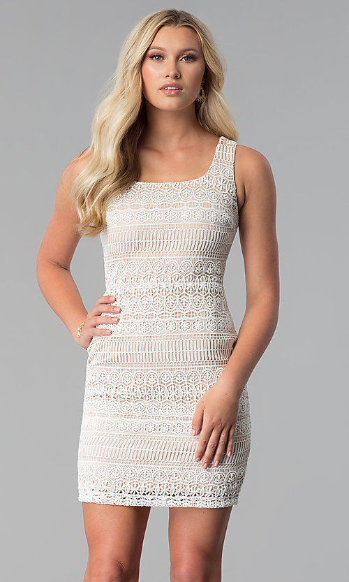 399b77c72e5 Image of short white square-neck lace graduation party dress. Style  MD-