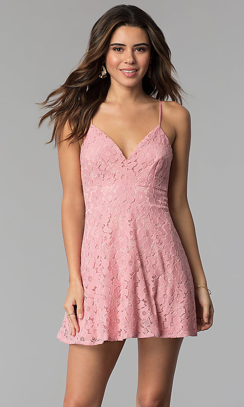 Short Floral-Lace Casual Party Dress - PromGirl