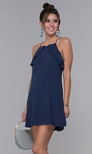 Navy Square-Neck Short Jersey Wedding-Guest Dress