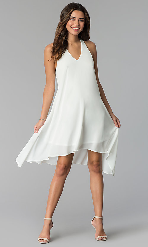 Image of short v-neck handkerchief-hem shift party dress. Style: VJ-VD32409 Detail Image 1