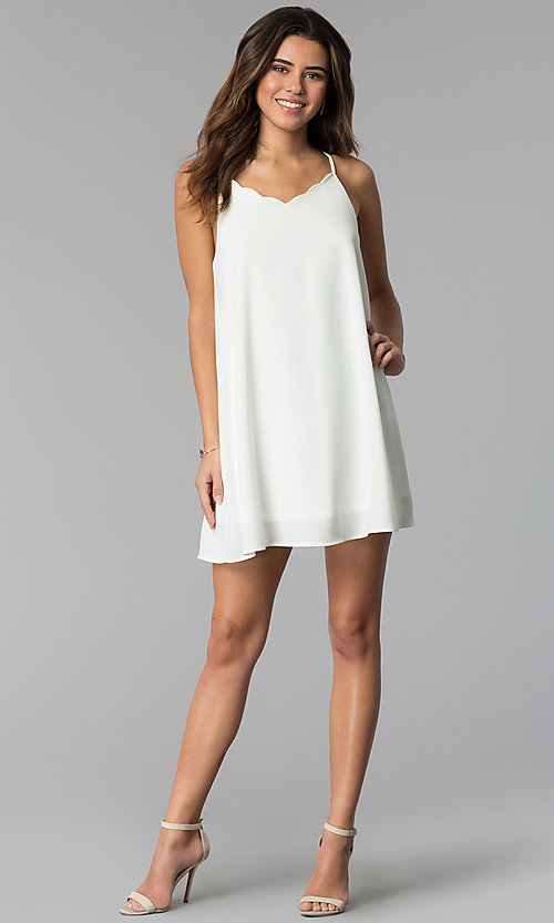 Image of short graduation party dress with scalloped neckline. Style: VJ-VD32465 Detail Image 3