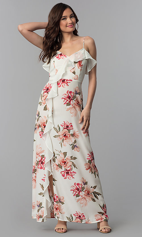 Long Floral-Print Casual Wedding-Guest Dress -PromGirl