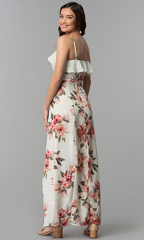 Long Floral Print Casual Wedding Guest Dress Promgirl