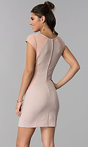 Image of short day-to-night cap-sleeve party dress. Style: SS-D70911J592 Back Image
