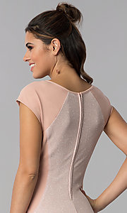 Image of short day-to-night cap-sleeve party dress. Style: SS-D70911J592 Detail Image 2