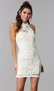 Image of high-neck caged-back short lace party dress. Style: SS-D68795H439 Detail Image 3