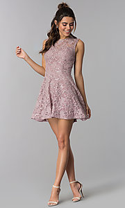 Image of short flared sequin-lace party dress. Style: SS-D71791HJL Detail Image 3