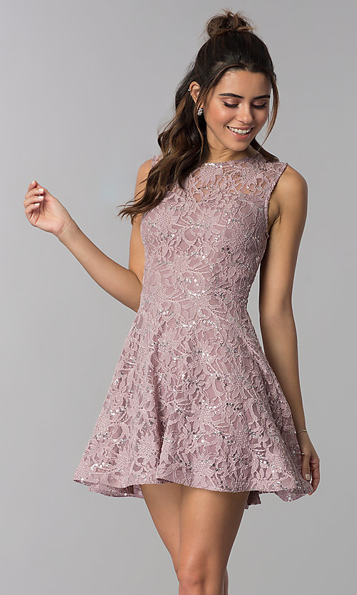 Image of short flared sequin-lace party dress. Style: SS-D71791HJL Front Image