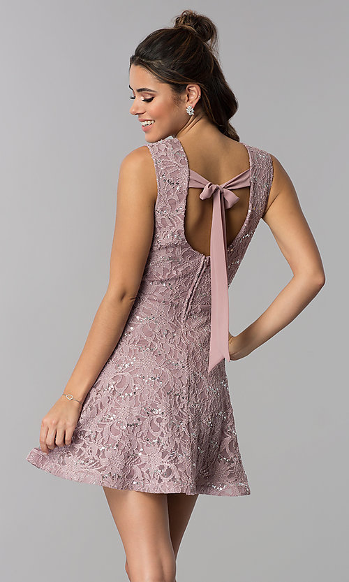 Image of short flared sequin-lace party dress. Style: SS-D71791HJL Back Image