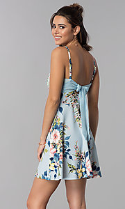 Image of floral-print short party dress with pockets. Style: SS-D71891DYW Back Image