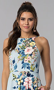 Image of floral-print short party dress with pockets. Style: SS-D71891DYW Detail Image 1