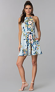 Image of floral-print short party dress with pockets. Style: SS-D71891DYW Detail Image 3