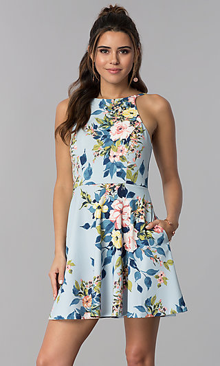 Floral-Print Short Party Dress with Pockets