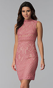 Image of short lace graduation high-neck party dress. Style: JTM-JMD8596 Front Image