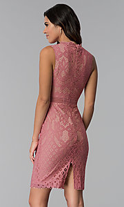 Image of short lace graduation high-neck party dress. Style: JTM-JMD8596 Back Image