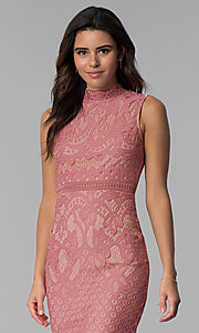 Image of short lace graduation high-neck party dress. Style: JTM-JMD8596 Detail Image 1