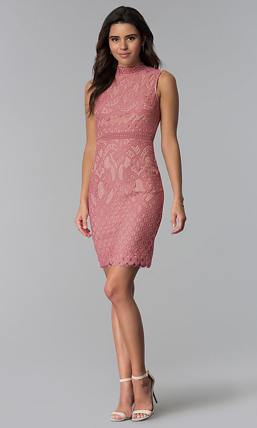 Image of short lace graduation high-neck party dress. Style: JTM-JMD8596 Detail Image 3