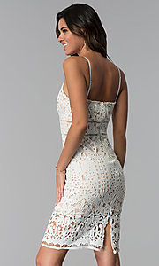 Image of v-neck short party dress with cut-work embroidery. Style: JTM-JMD7326 Back Image