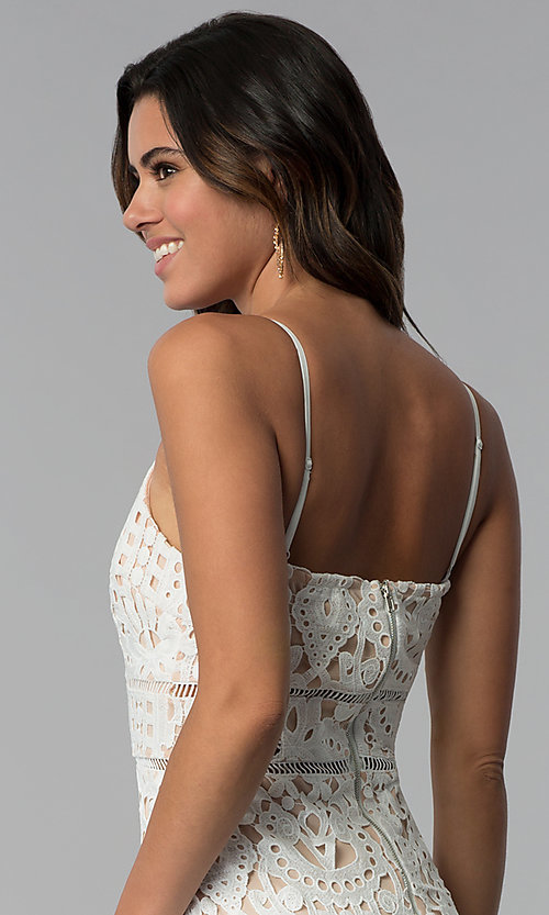 Image of v-neck short party dress with cut-work embroidery. Style: JTM-JMD7326 Detail Image 2
