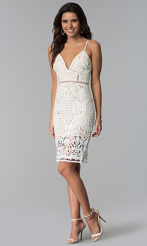 Image of v-neck short party dress with cut-work embroidery. Style: JTM-JMD7326 Detail Image 3