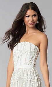 Image of strapless ivory lace graduation party dress. Style: LUX-LD4552 Detail Image 1