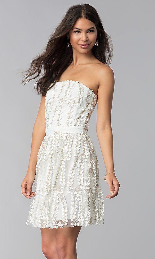 Image of strapless ivory lace graduation party dress. Style: LUX-LD4552 Front Image