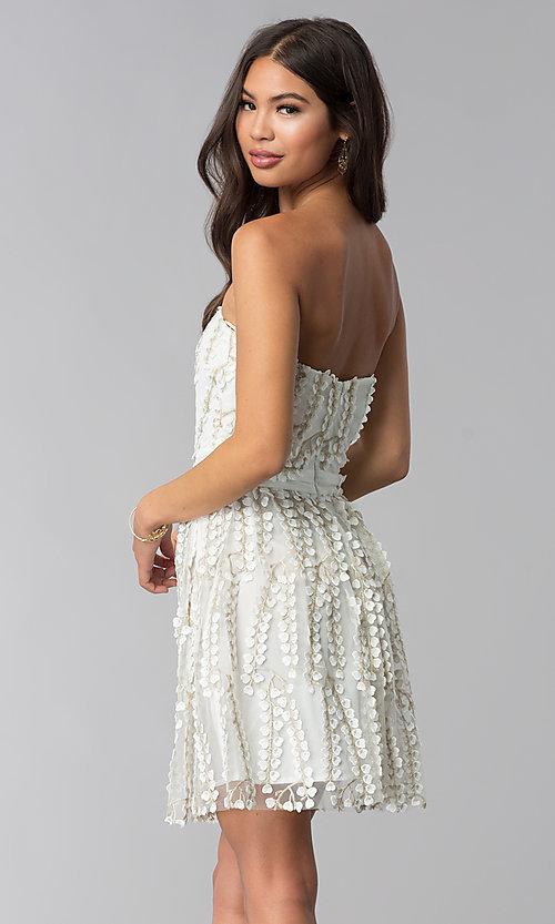 Image of strapless ivory lace graduation party dress. Style: LUX-LD4552 Back Image