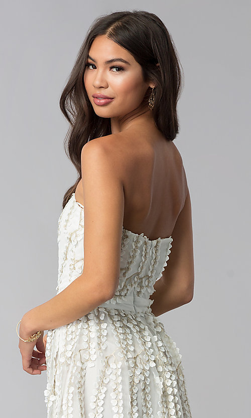 Image of strapless ivory lace graduation party dress. Style: LUX-LD4552 Detail Image 2