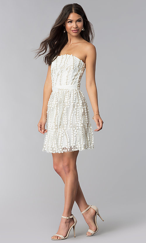Image of strapless ivory lace graduation party dress. Style: LUX-LD4552 Detail Image 3